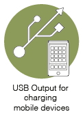 USB Output for charging mobile devices